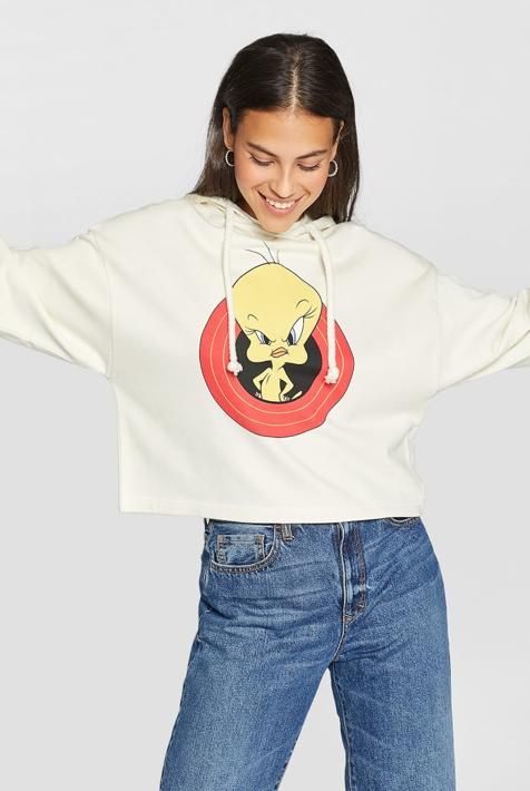 Sudadera Looney capucha en color blanco, 25,99 euros.