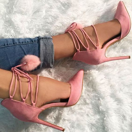 Shoespie Stylish Pointed Toe Lace Up Stiletto Heels: