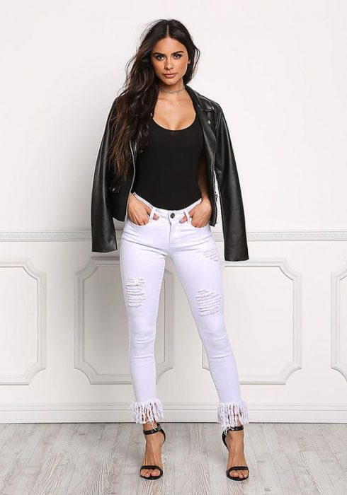 White Distressed & Frayed Jeans - Pants - Denim - Clothes