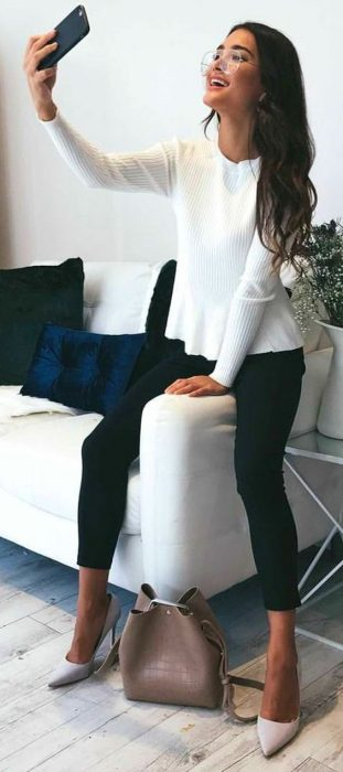 #spring #outfits White 'Easy Update Knit Top' Black Skinny 'Best Foot Forward Pants'